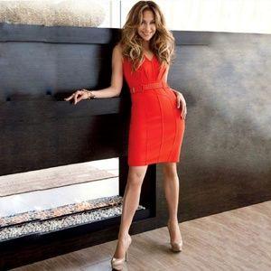 Jennifer Lopez Orange Belted Bodycon Sheath Dress